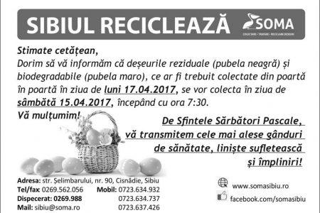 Programul ridicării deșeurilor în preajma sărbătorilor pascale