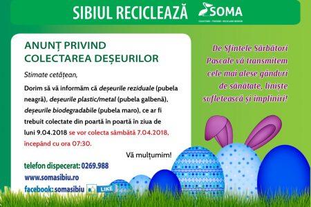 Anunț privind colectarea deșeurilor în perioada Sărbătorilor de Paști