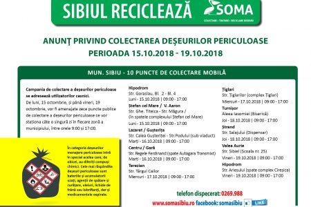 Campanie de colectare a deșeurilor periculoase începând de luni, 15 octombrie