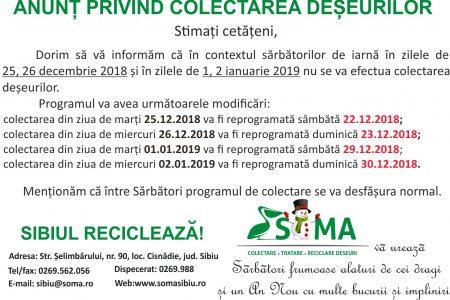 Programul de colectare a deșeurilor în perioada Sărbătorilor de Crăciun