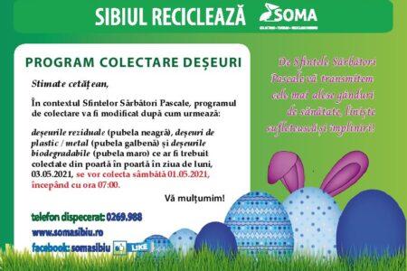 Program colectare deșeuri – Paști 2021